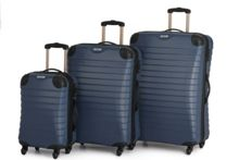 Linea Shell denim blue 4 wheel luggage set