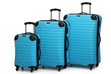 Shell aqua 4 wheel hard luggage set