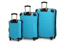 Linea Shell aqua 4 wheel hard luggage set