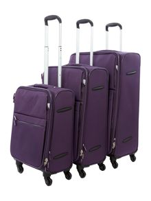 Hyperlite Purple 4 wheel luggage set