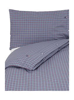Authentic Poplin Check bl/re/gr King Duvet Set