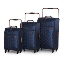 Navy emboss hexagon 4 wheel Luggage Set