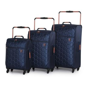 Linea Navy emboss hexagon 4 wheel Luggage Set