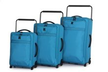 Bright Blue 2 wheel soft large suitcase