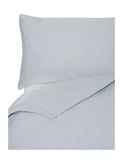 Authentic Poplin Stripe Wh/Bl King Duvet Set