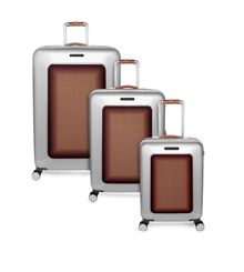 Herringbone Silver Luggage Set