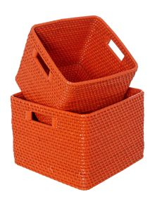 Linea Rattan storage baskets