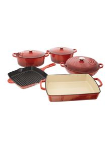 Linea Red cast iron cookware range