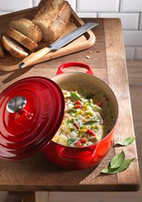 Le Creuset Cast Iron cookware range in Cerise