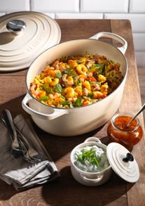 Le Creuset Cast Iron cookware range in Almond