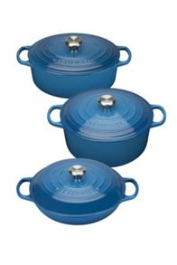 Le Creuset Cast Iron cookware range; Marseille Blue