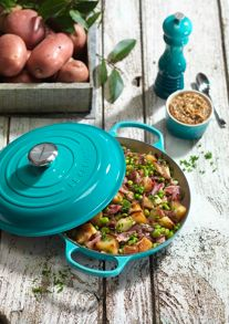 Cast Iron cookware range in Teal