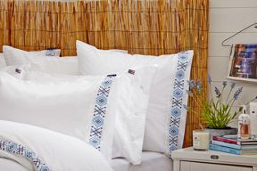 Lexington Poplin with Embroidery bedding in Blue