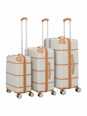Dickins & Jones Cream trunk 4 wheel hard luggage set