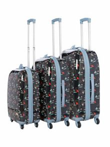 Blue Boat Print 4 wheel hard luggage set