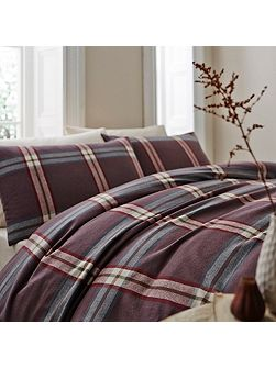 Murray flannel check single duvet cover set