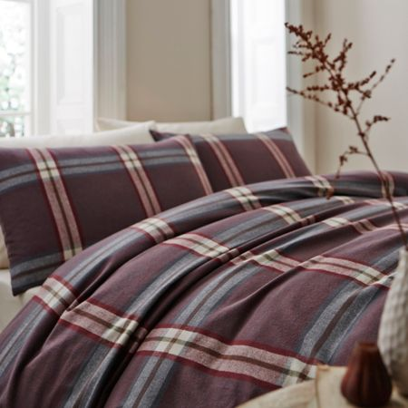 Linea Murray flannel check king duvet cover set