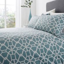 Living by Christiane Lemieux Teal geo jacquard king duvet cover