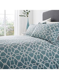 Teal geo jacquard double duvet cover