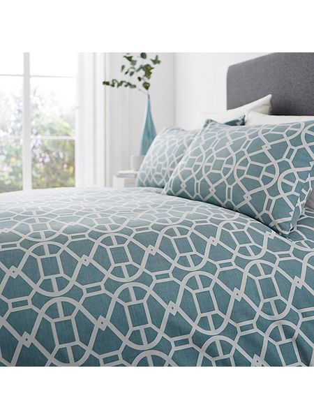 living by christiane lemieux teal geo jacquard king duvet cover house of fraser. Black Bedroom Furniture Sets. Home Design Ideas