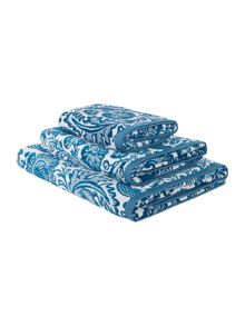 Living by Christiane Lemieux Bird jacquard towel range in teal
