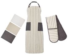 Gray & Willow Pinstripe kitchen linen set