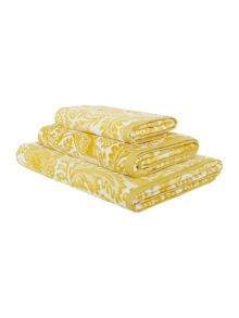 Living by Christiane Lemieux Bird jacquard towel range in chartreuse
