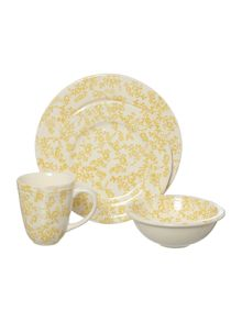 Dickins & Jones Yellow floral earthenware dinner range