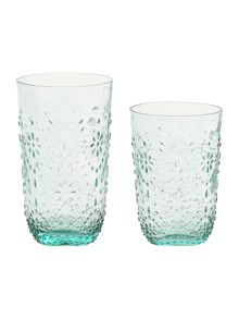 Dickins & Jones Embossed Floral glassware range