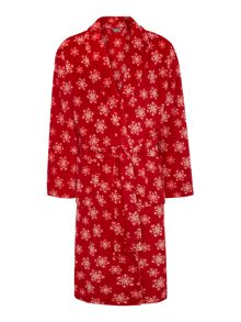 Linea Snowflake fleece robe range in red