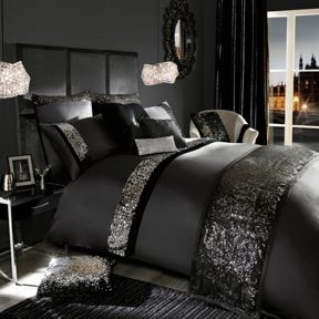 Kylie Minogue Velvetina bedding range in black