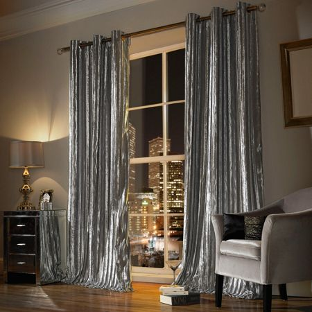 Kylie Minogue Iliana lined eyelet curtain in silver 90x90