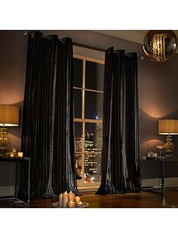 Iliana Lined Eyelet Curtain Black 66x90
