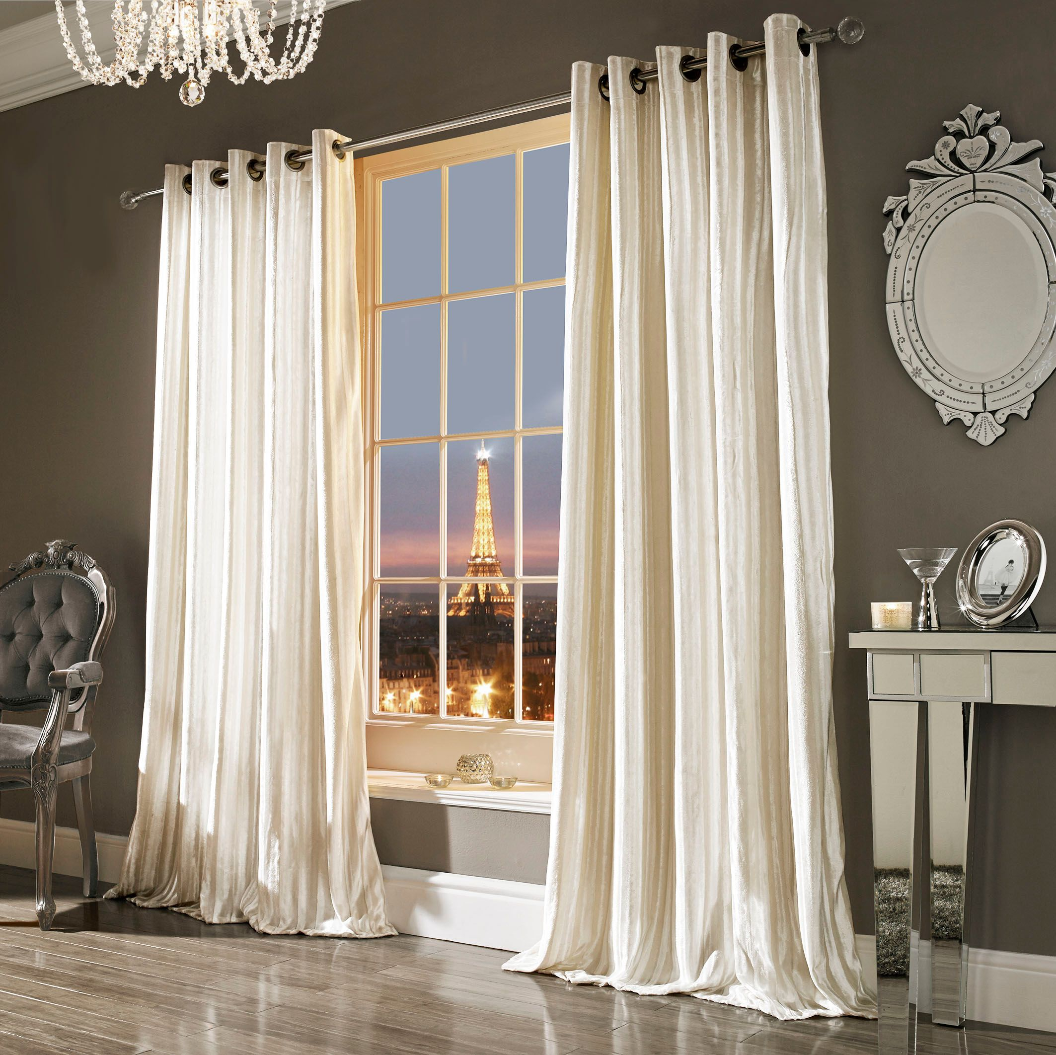 Kylie Minogue Kylie Minogue Iliana Lined Eyelet Curtain Oyster 66x90
