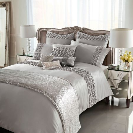 Kylie Minogue Ruffle Silver Super King Duvet Cover