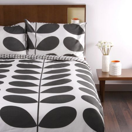 Orla Kiely Flannel Giant Stem Granite Double Duvet Cover