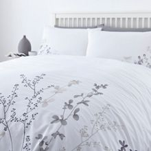 Twig embroidery double duvet cover set