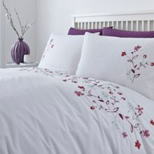 Floral embroidery king duvet cover set