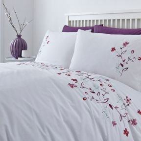 Linea Floral embroidery duvet cover set range