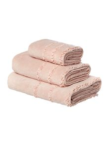 Shabby Chic Frill border bath towel range in pink