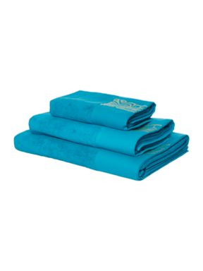 Biba Gold logo bath towel range in teal