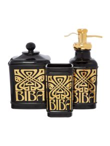 Biba Black glass basin accessories