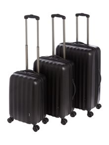 Linea Orba Black Hard 8 Wheel Luggage Set