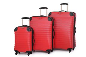Linea Red Shell 4 Wheel Luggage Set