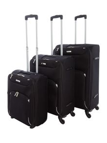 Linea Dartmouth Black soft 4 wheel luggage set