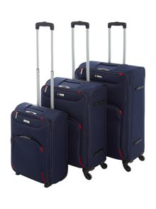 Linea Dartmouth Navy Soft 4 Wheel Luggage set