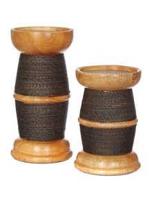 Linea Wood & Wire Pillar Candle Holder Range