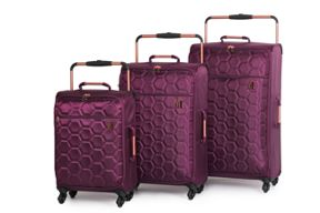 Linea Aubergine Hexagon Emboss Luggage Set
