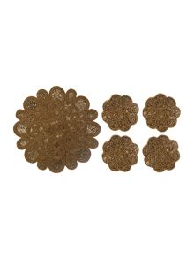 Biba Gold beaded flower tableware range