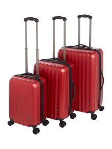Linea Orba Red Hard 8 Wheel Luggage Set
